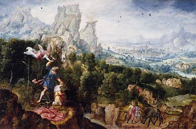 Sacrificial Photograph - Landscape With The Offering Of Isaac, C.1540 Oil On Panel by Herri met de Bles