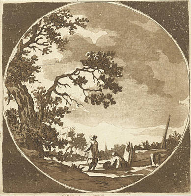 Bo Drawing - Landscape With Two Hikers, Anthonie Van Den Bos by Artokoloro