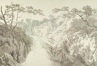 Fall Drawing - Landscape With Waterfall by Joseph Mallord William Turner