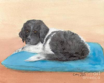 Newfie Painting - Landseer Newfoundland Dog Pup Pillow Cathy Peek Art by Cathy Peek
