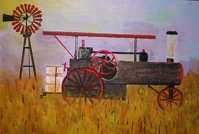 Harold Greer Painting - Lane Family Steam Engine by Harold Greer
