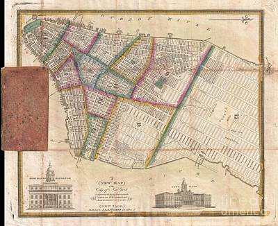 Langdon Pocket Map Of New York City Print by Paul Fearn