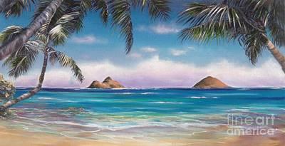 Hawaii Sea Turtle Painting - Lanikai Beach And Honu by Linda Briggs