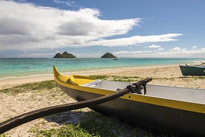 Lanikai Beach Outrigger 1 - Oahu Hawaii Print by Brian Harig