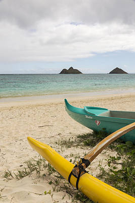Lanikai Beach Outrigger 2 - Oahu Hawaii Print by Brian Harig