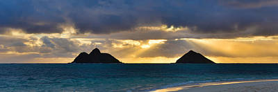 Lanikai Beach Sunrise Panorama 2 - Kailua Oahu Hawaii Print by Brian Harig
