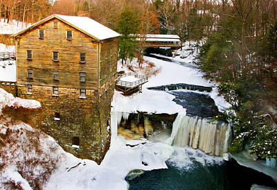 Lantermans Grist Mill And Bridge Print by Marcia Colelli