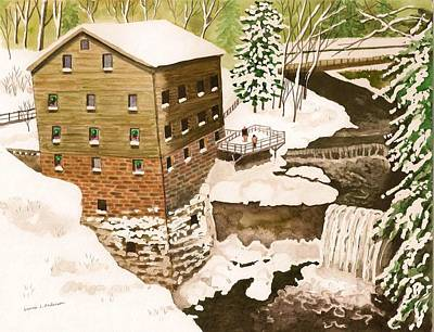 Lantermans Mill In Winter - Mill Creek Park Print by Laurie Anderson