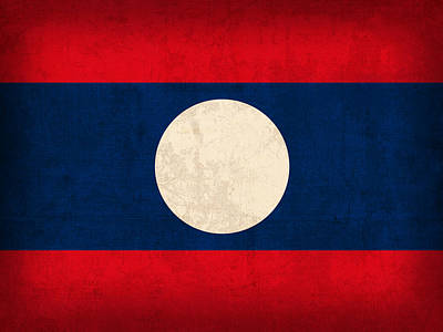 Laos Mixed Media - Laos Flag Vintage Distressed Finish by Design Turnpike