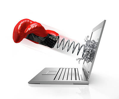 Emergence Photograph - Laptop With Boxing Glove by Leonello Calvetti