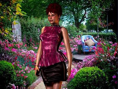 Garden Scene Mixed Media - Lara Visits The Flower Show by Nancy Pauling