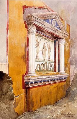 Site Drawing - Lararium Of Family Altar, Seen In Situ by Luigi Bazzani