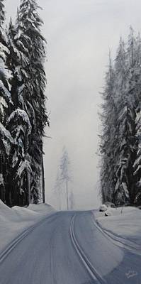 Cross-country Skiing Painting - Larch Hills Lake View Ski by Cynthia Langford