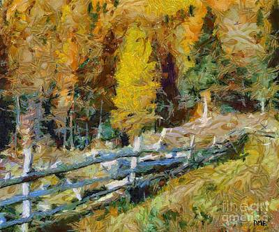 Rural Scenes Painting - Larches In Autumn by Dragica  Micki Fortuna