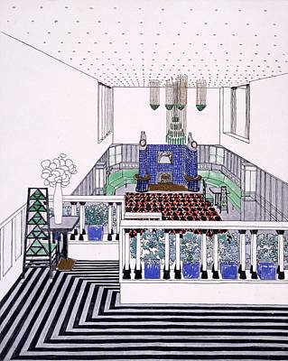 Interior Design Drawing - Large Balconied Reception Room by Leopold Bauer