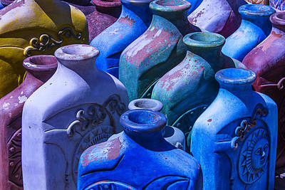 Large Colorful Vases Print by Garry Gay