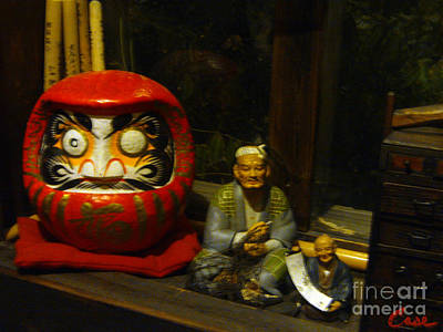 Large Japanese Daruma With Statues Print by Feile Case