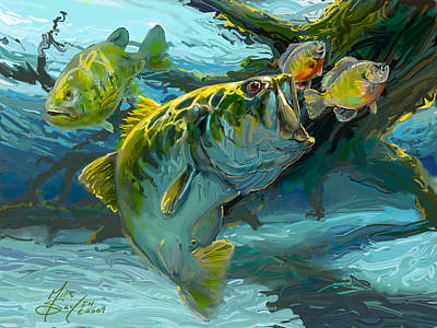 Flyfishing Painting - Large Mouth Bass And Blue Gills by Savlen Art