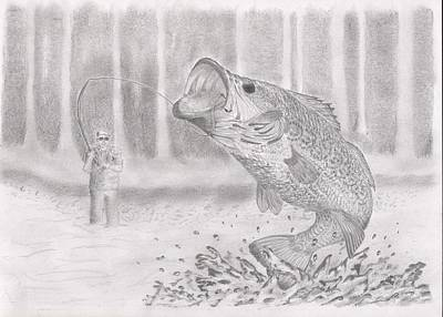 Bass Fishing Drawing - Large Mouth Bass by Stephen Brissette