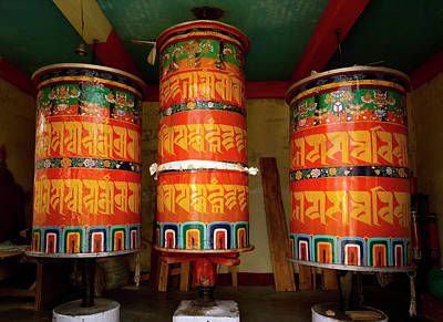 Large Prayer Wheels, Monastery Print by Jaina Mishra