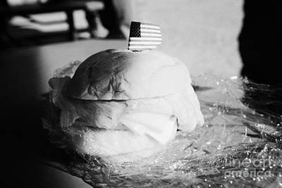 Large Turkey Salad Sandwich Wrapped In Cling Film Usa Print by Joe Fox