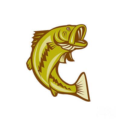 Largemouth Bass Jumping Cartoon Print by Aloysius Patrimonio