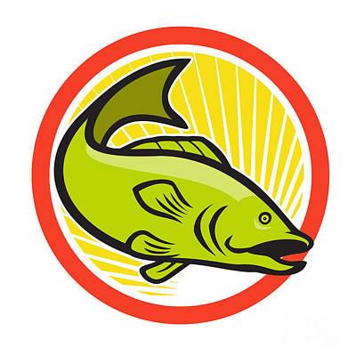 Largemouth Bass Jumping Cartoon Circle Print by Aloysius Patrimonio