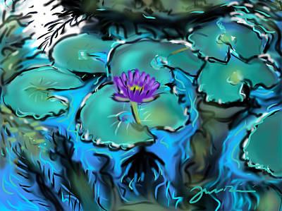 Waterlily Drawing - Largo Waterlilies by Jean Pacheco Ravinski