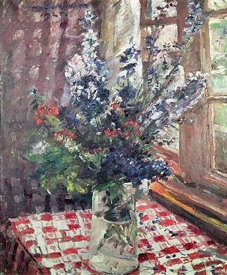 Checked Tablecloths Painting - Larkspur by Lovis Corinth