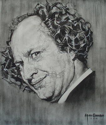 Slapstick Drawing - Larry Fine Of The Three Stooges - Where's Your Dignity? by Sean Connolly