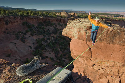 Tightrope Photograph - Larry Harpe Highlining (slacklining by Howie Garber
