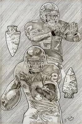 Kansas City Drawing - Larry Johnson by Jonathan Tooley