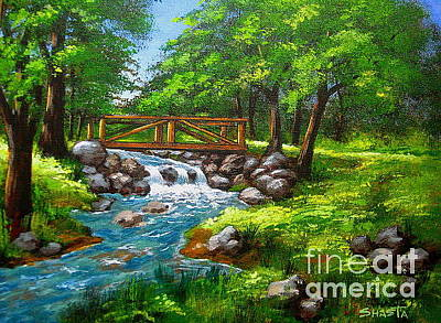 Serenity Oregon Painting - Larson  Crk  Bridge  by Shasta Eone