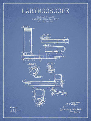 Laryngoscope Patent From 1937  - Light Blue Print by Aged Pixel