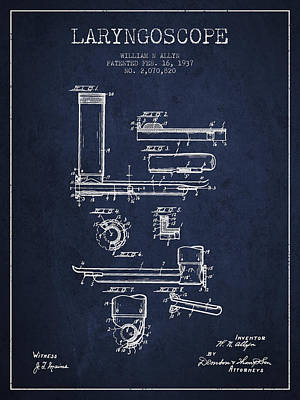 Laryngoscope Patent From 1937  - Navy Blue Print by Aged Pixel