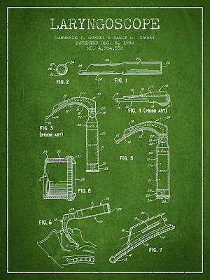 Laryngoscope Patent From 1989 - Green Print by Aged Pixel
