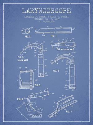 Laryngoscope Patent From 1989 - Light Blue Print by Aged Pixel
