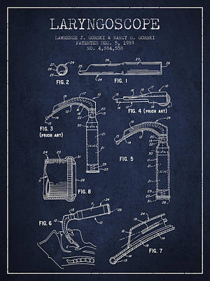 Laryngoscope Patent From 1989 - Navy Blue Print by Aged Pixel