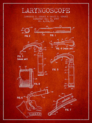 Laryngoscope Patent From 1989 - Red Print by Aged Pixel