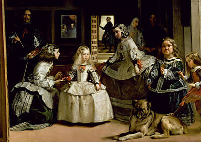 Painter Photograph - Las Meninas, Detail Of The Lower Half Depicting The Family Of Philip Iv 1605-65 Of Spain, 1656 Oil by Diego Rodriguez de Silva y Velazquez
