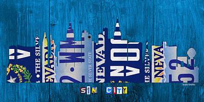 Las Vegas Nevada City Skyline License Plate Art On Wood Print by Design Turnpike