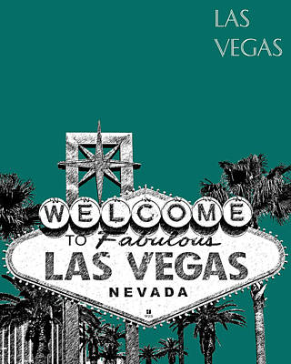 Las Vegas Welcome To Las Vegas - Sea Green Print by DB Artist