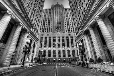 Lasalle Street In Chicago In Black And White Print by Twenty Two North Photography