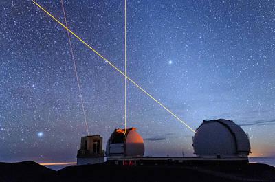 Keck Photograph - Laser Party Over Mauna Kea 1 by Jason Chu