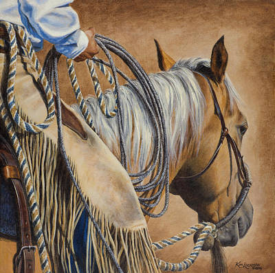 Roping Horse Painting - Lariat And Leather by Kim Lockman