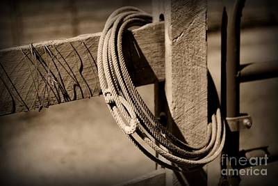 Lasso On Fence Post Rustic Print by Paul Ward