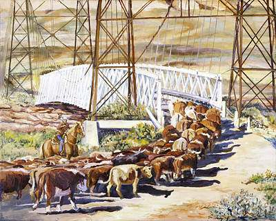 Cattle Drive Painting - Last Drive Over Dewey Bridge by Page Holland