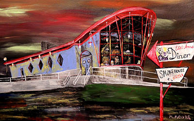 Peggy Sues Diner Painting - Last Friday Night Closed by Mark Moore