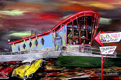 Peggy Sues Diner Painting - Last Friday Night - Huntsville Alabama  by Mark Moore