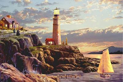 Portland Head Lighthouse Painting - Last Light  by Ron Chambers
